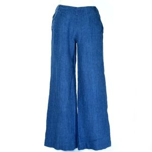 TOMMY BAHAMA Blue Linen Wide Leg Sailor Pants
